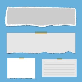 Páginas de bloco de notas quadradas em branco e fita