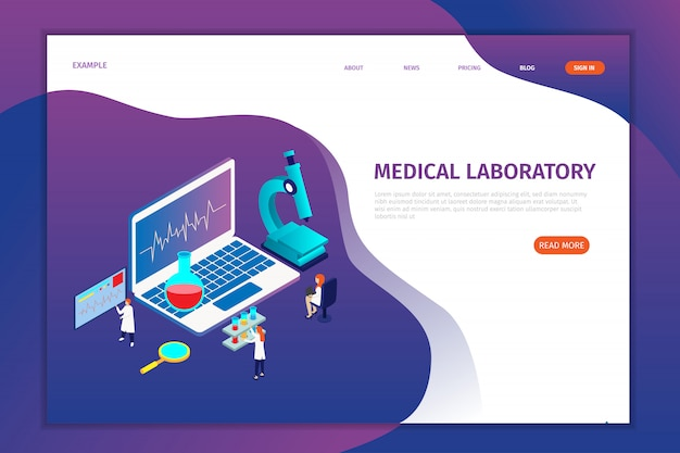 Páginas de desembarque de laboratório médico isométrico