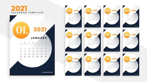 Páginas de design de modelo de calendário moderno de ano novo 2021
