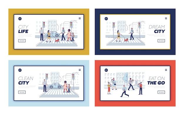 Páginas de destino com pessoas na faixa de pedestres.