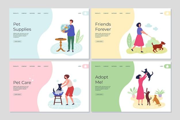 Páginas de destino de animais de estimação. pessoas que se preocupam com os animais.
