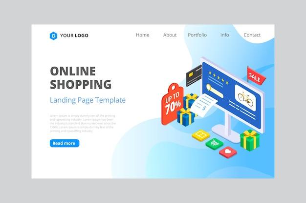 Páginas de destino de comércio eletrônico isométricas