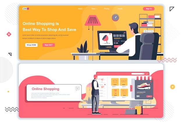 Páginas de destino de compras online