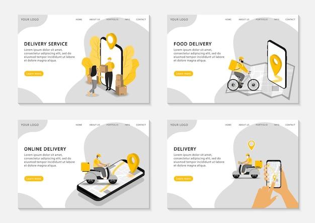 Páginas de destino de entrega online. conjunto de modelo de página da web para serviço de entrega, entrega de comida e entrega online.