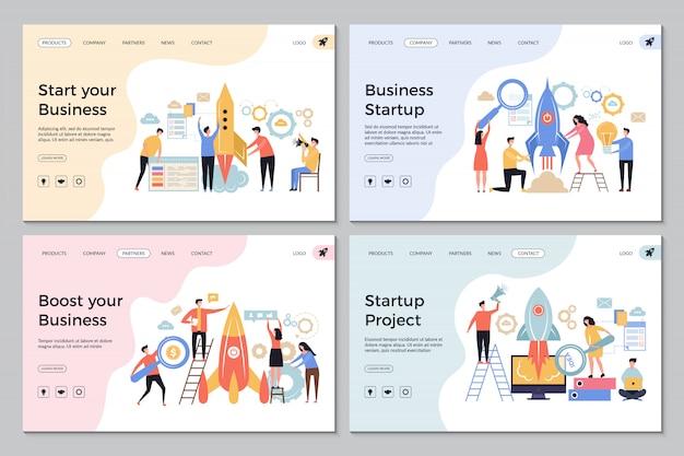 Páginas de destino de inicialização. modelos de design de sites de negócios na web diretor de gerentes de escritório pessoas bem-sucedidas lançam símbolos de inicialização