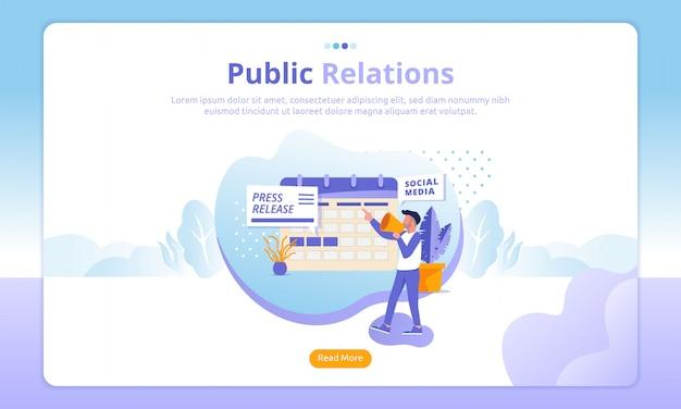 Páginas de destino de relações públicas