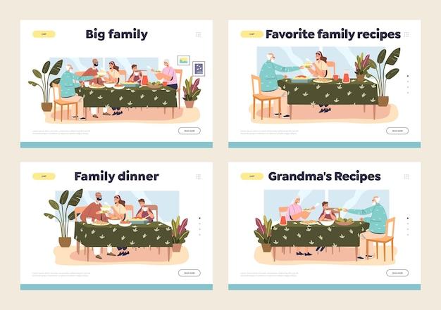 Páginas de destino definidas com conceito de jantar em família e pais e filhos se reunindo em uma refeição festiva em casa
