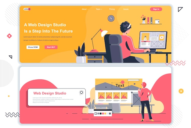 Páginas de destino do estúdio de design da web