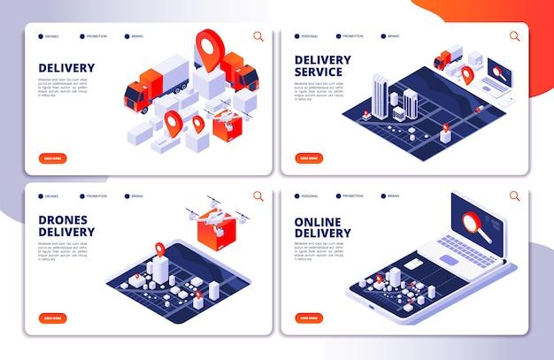 Páginas de destino dos serviços de entrega da coleção