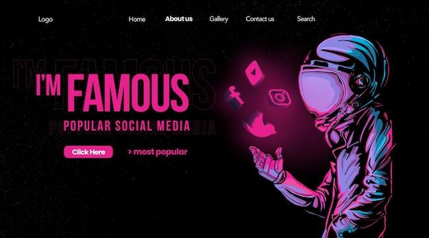 Páginas de destino famosas nas redes sociais