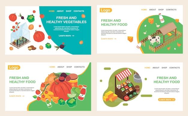 Páginas de destino isométricas de sites de alimentos orgânicos definidas com imagens isométricas