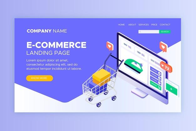 Páginas de destino isométricas para comércio eletrônico