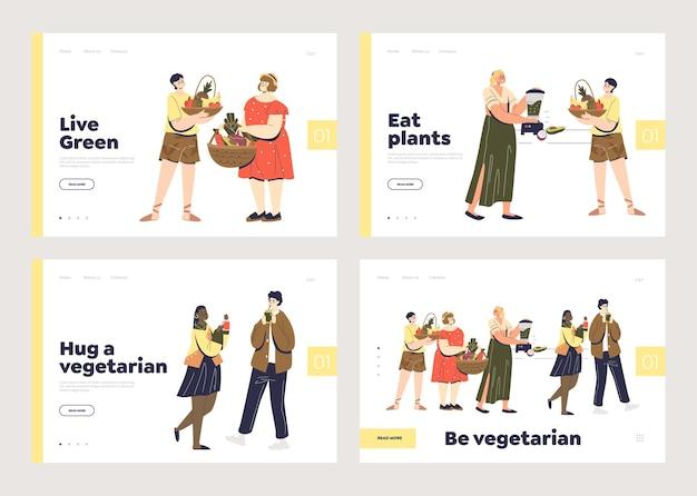 Páginas de destino veganas e vegetarianas com jovens modernos comendo vegetais e frutas