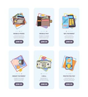 Páginas de integração de pagamentos móveis. banners de design de interface de usuário da web com imagens de conceito de vetor de sistema de pagamento de nfc de banco on-line. ilustrar o pagamento móvel, e-bill e proteger o pagamento