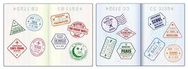 Páginas de passaporte em branco realistas ou passaporte vazio com marca d'água e selos