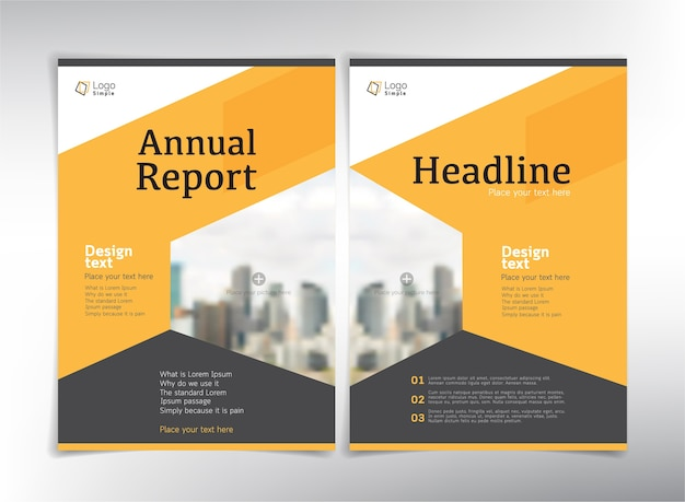 Páginas de rosto do relatório anual com espaço para fotos