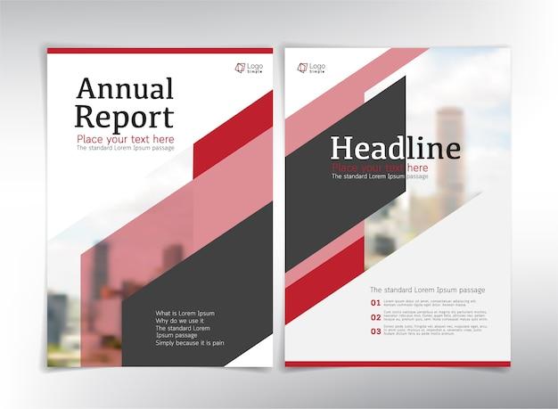 Páginas de rosto do relatório anual, tema branco e vermelho
