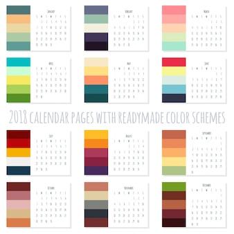 Páginas do calendário 2018 com esquemas de cores prontas