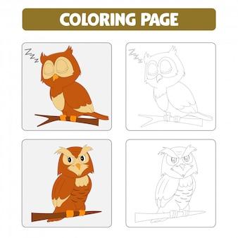 Páginas do livro para colorir. ilustração dos desenhos animados da coruja