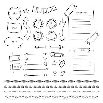 Páginas e notas de modelo de diário com marcadores