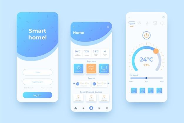 Páginas iniciais móveis de gerenciamento doméstico inteligente
