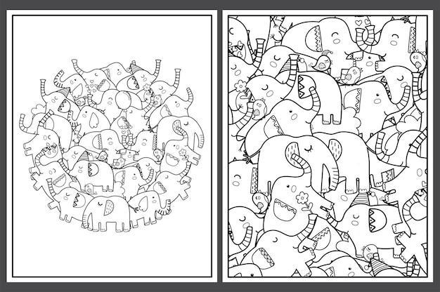 Páginas para colorir com ilustração de elefantes fofos