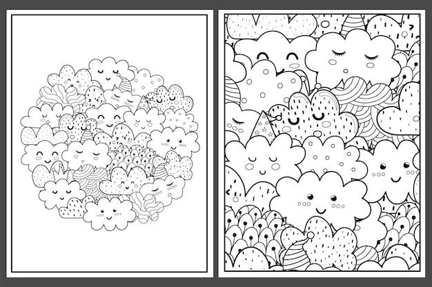 Páginas para colorir com nuvens fofas