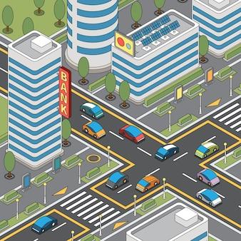 Páginas para colorir composição moderna da cidade com vista aérea do quarteirão da cidade com edifícios e estradas