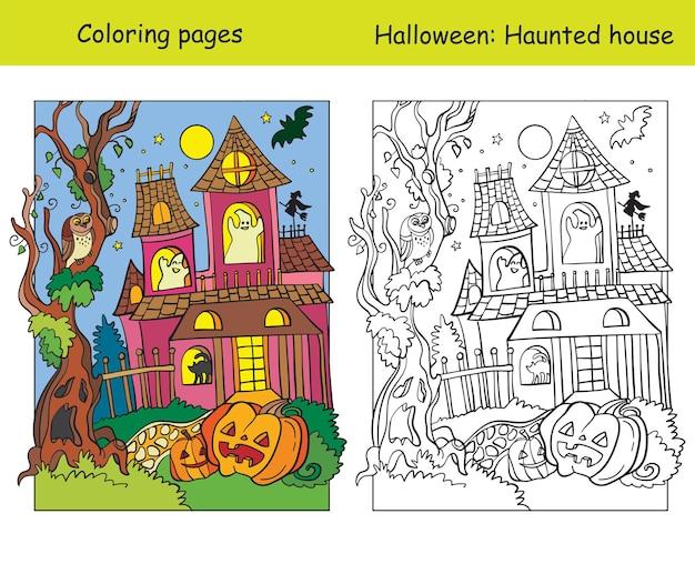 Páginas para colorir de vetor com casa assombrada de exemplo colorido. conceito de halloween. ilustração vetorial.