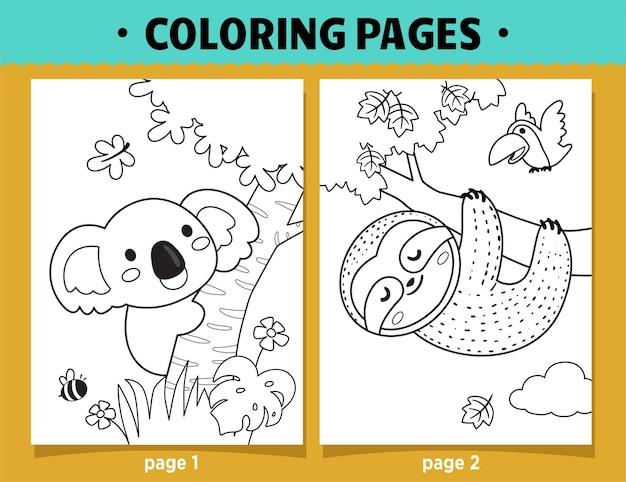 Páginas para colorir desenho animado de coala e preguiça