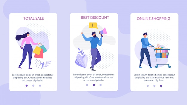 Páginas para dispositivos móveis configuradas para publicidade de venda