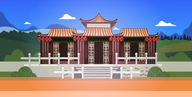 Pagode do edifício em pavilhões de estilo tradicional arquitetura cenário asiático paisagem fundo ilustração horizontal
