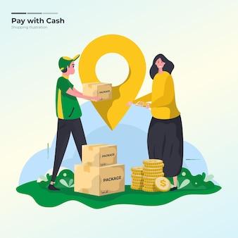 Pague com dinheiro ou dinheiro na entrega do conceito de ilustração
