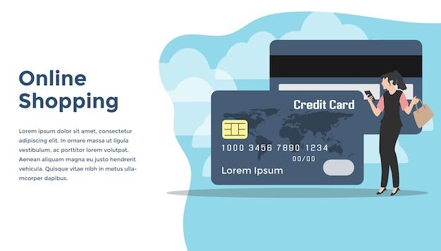 Pague com ilustração de conceito de loja de cartão de crédito on-line