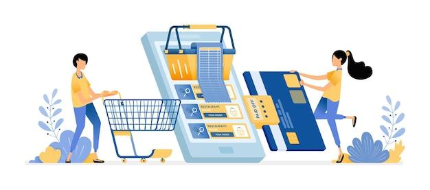 Pague contas de compras com cartão de crédito. pessoas fazendo compras em supermercados online com aplicativos móveis