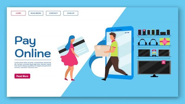 Pague o modelo da página de destino on-line. ideia de interface de site de comércio eletrônico com ilustrações planas. webstore, layout da página inicial do mercado. banner web comercial, conceito de desenho de página da web
