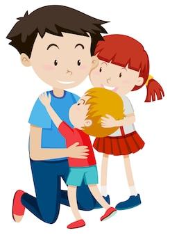Pai, abraçando, seu, crianças