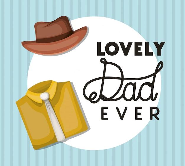 Pai adorável sempre chapéu e camisa com design de gravata