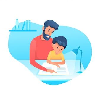 Pai ajudando filho com o dever de casa ilustração plana