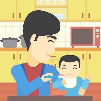 Pai alimentando a ilustração vetorial de bebê.