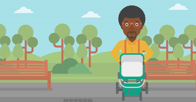 Pai andando com carrinho de bebê.