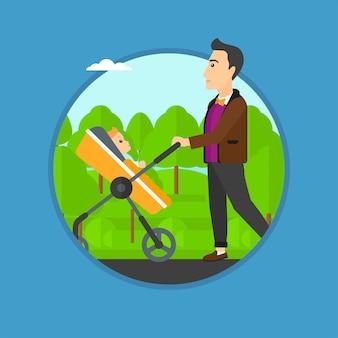 Pai andando com seu bebê no carrinho.