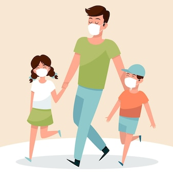 Pai andando com seus filhos com máscaras médicas