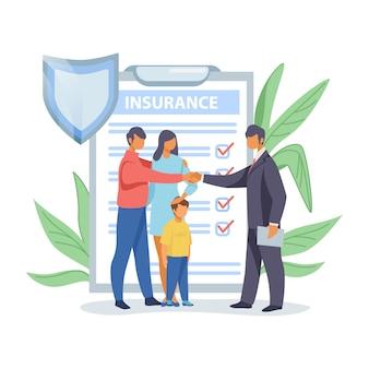 Pai, apertando as mãos com agente de seguros