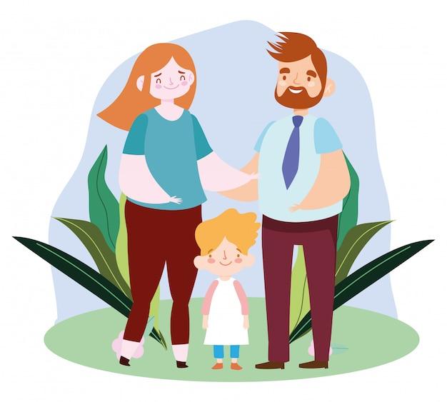 Pai barbudo mãe e filho em pé na grama, ilustração em vetor dia da família