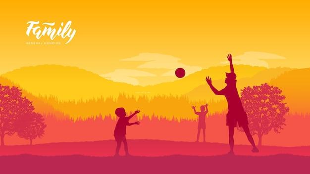 Pai bonito com seu pequeno sol está se divertindo e jogando vôlei na natureza.