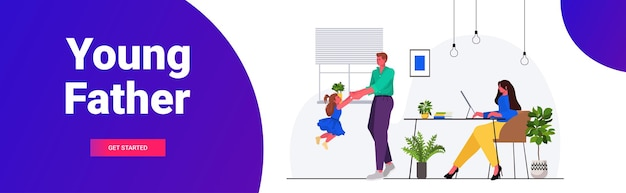 Pai brincando com a filha mãe sentada no local de trabalho paternidade conceito de paternidade, família amigável, passar algum tempo juntos em casa ilustração vetorial espaço cópia horizontal comprimento total