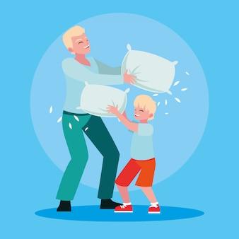 Pai brincando com filho