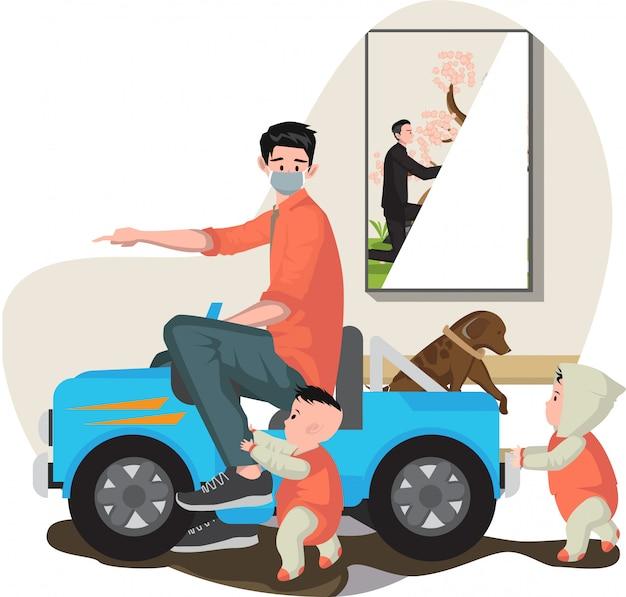 Pai brincando de brinquedo de carro com seus bebês em casa