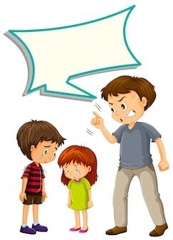 Pai chateado com crianças com balão de fala